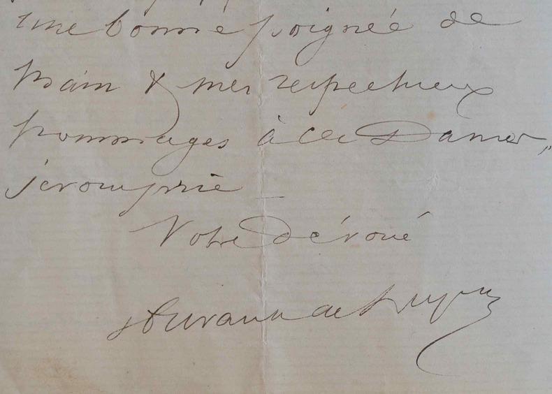 Le peintre Hurault de Ligny décline une invitation.. Alexandre Hurault de Gondrecourt Ligny (1805-1882) Aquarelliste, auteur de paysages délicats.