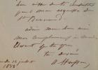 Lettre amicale du sculpteur Aristide Husson au compositeur Antoine Elwart.. Aristide Husson (1803-1864) Sculpteur, Prix de Rome en 1830 et élève de ...