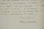 Roger Jourdain recommande René Legrand.. Roger Jourdain (1845-1918) Élève de Cabanel, il est peintre et illustrateur. Il fit construire un hôtel ...
