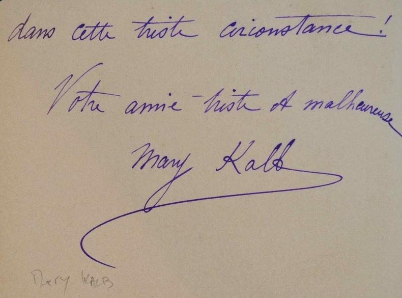 La comédienne Mary Kalb remercie un ami.. Mary Kalb (1854-1930) Actrice française, sociétaire de la Comédie Française.