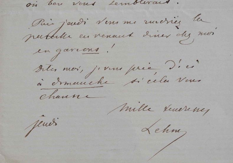 Le peintre Henri Lehmann s'adresse à son confrère et ami, Amaury-Duval.. Henri Lehmann (1814-1882) Peintre d'histoire et portraitiste, il est l'élève ...