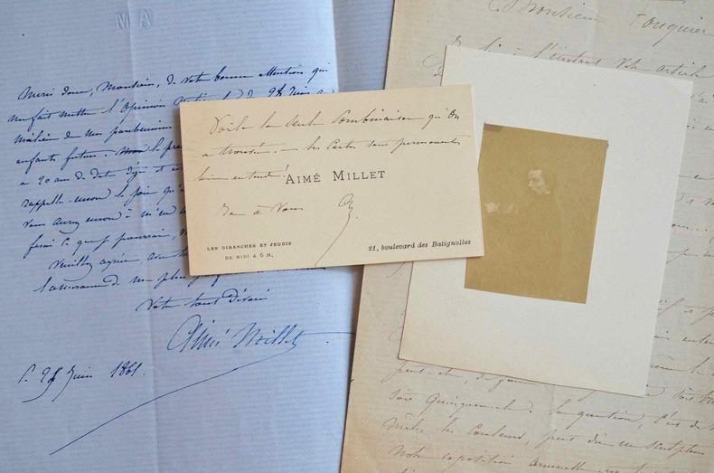 Trois lettres du peintre et sculpteur Aimé Millet à un journaliste.. Aimé Millet (1819-1891) Peintre, il est également sculpteur et médailleur. Formé ...