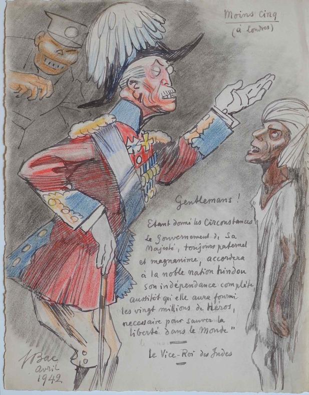 Dessin humoristique de Ferdinand Bac sur la levée des troupes anglaises en Inde.. Ferdinand Bac (1859-1952) Dessinateur et homme de lettres.