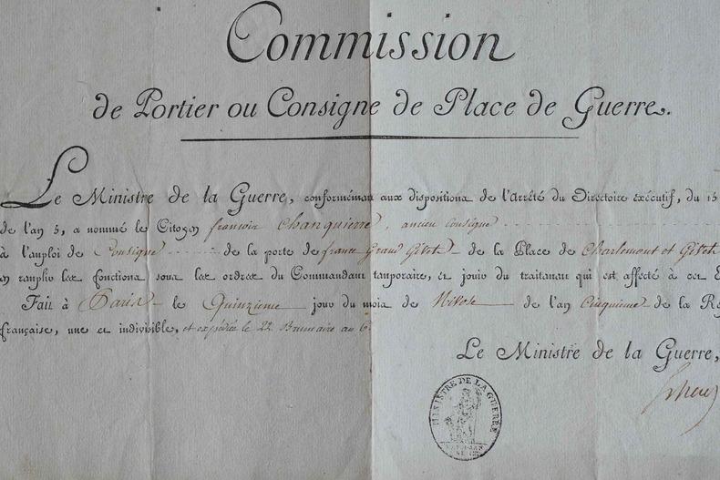 Nomination d'un consigne pour surveiller l'entrée des étrangers à Givet.. Barthélemy Louis Joseph Schérer (1747-1804) Général, commandant en chef ...