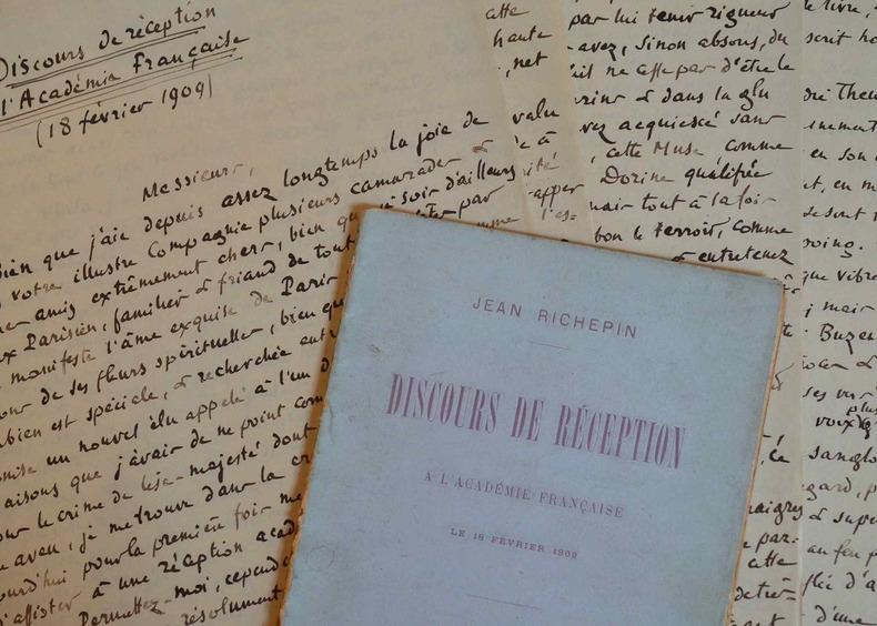 Manuscrit du discours de réception de Jean Richepin à l'Académie française.. Jean Richepin (1849-1926) Poète et auteur dramatique, membre de ...