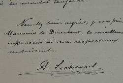 Le médailleur Lechevrel remercie le directeur des Monnaies et Médailles.. Alphonse-Eugène Lechevrel (1848-1924) Sculpteur, il est médailleur et grave ...