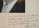 Portrait dédicacé de Pierre Daninos.. Pierre Daninos (1913-2005) Ecrivain et humoriste, lauréat du prix Interlallié (1947, Les Carnets du bon Dieu).