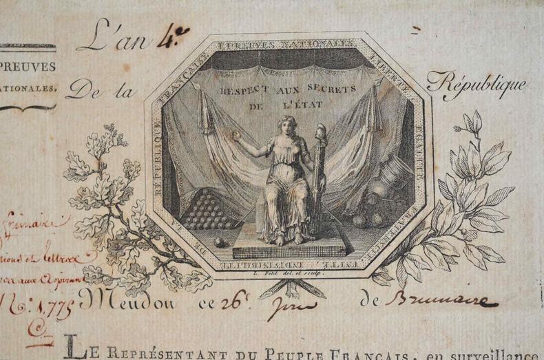 Lettre avec magnifique vignette du Commissariat des Epreuves Nationales.. Etienne Deydier (1743-1825) Elu à la Législative puis à la Convention (Ain) ...