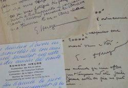 Le peintre Edmond Heuzé indique le prix de ses aquarelles.. Edmond Heuz? (1884-1967) Peintre, il est également pastelliste et aquarelliste. Il est ...