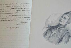 Lettre et portrait original du père Loriquet sur son lit de mort.. Jean-Nicolas Loriquet (1767-1845) Jésuite pédagogue, prédicateur de la Compagnie de ...