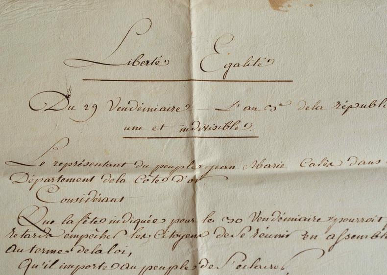 Grande affiche révolutionnaire manuscrite pour la fête du 30 vendémiaire à Dijon..