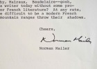 Très belle lettre de Norman Mailer sur la littérature française et ses influences.. Norman Mailer (1923-2007) Ecrivain américain, deux fois lauréat du ...