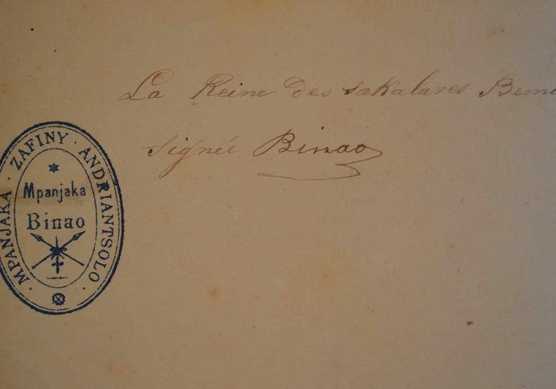 Rare lettre de la reine Binao, reine des Sakalaves, durant la conquête française..