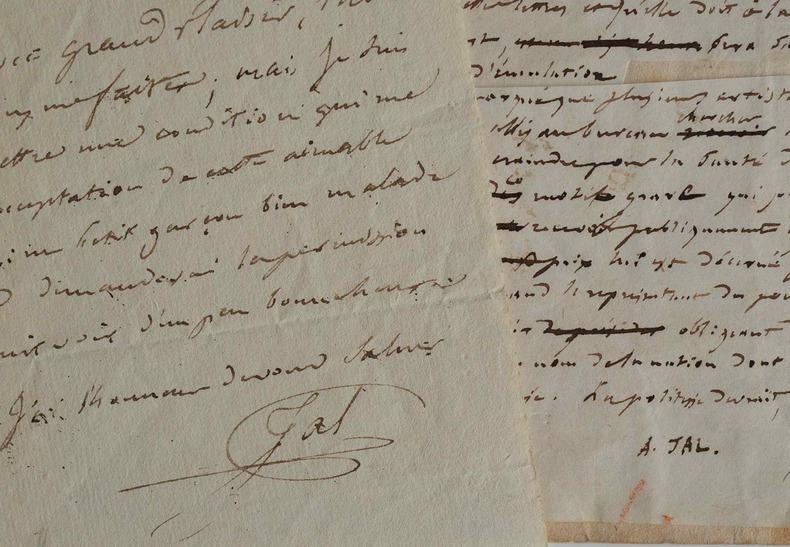 Manuscrit d'Auguste Jal sur la distribution des récompenses au Salon de 1849.. Auguste Jal (1795-1873) Journaliste et critique d'art, il devient ...