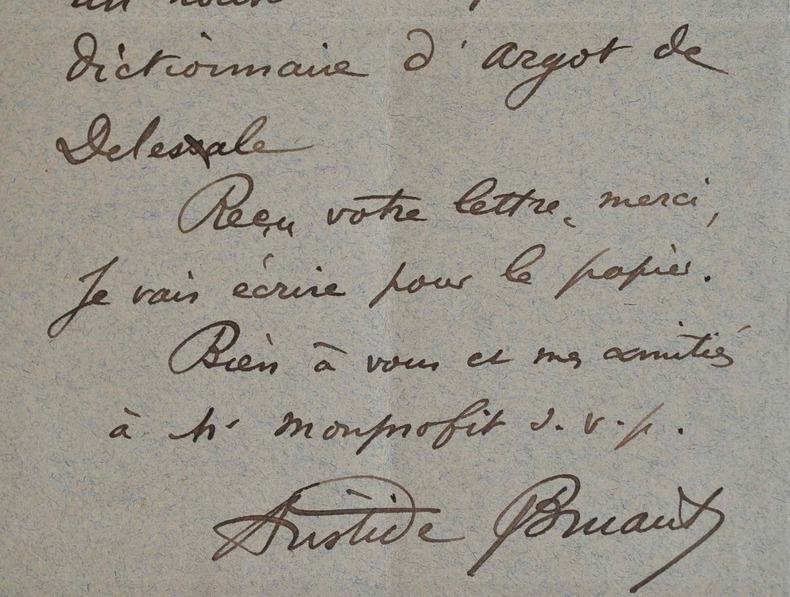 Aristide Bruant réclame un dictionnaire d'argot.. Aristide Bruant (1851-1925) Chansonnier, l'un des grands poètes de l'argot.
