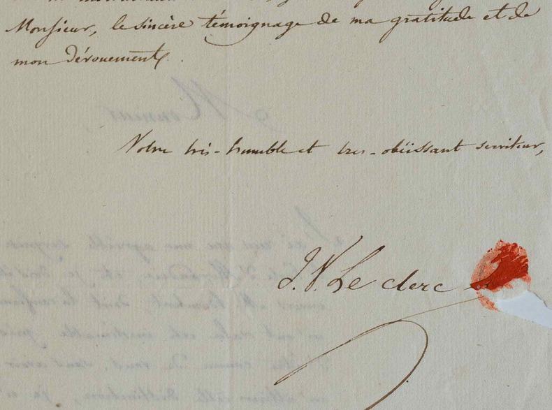 Joseph-Victor Leclerc remercie l'historien Jacques Matter.. Joseph Victor Le Clerc (1789-1865) Erudit, professeur de littérature latine, de l'Académie ...