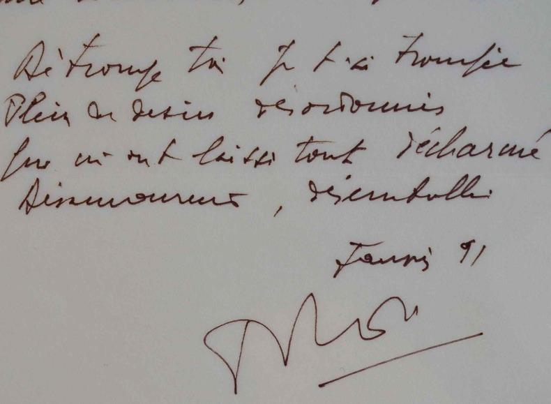 Manuscrit de la Déchanson du désamour de Pierre Delanoë.. Pierre Delano? (1918-2006) L'un des plus importants paroliers français.