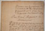 Manuscrit du Discours de la patience de l'Abbé Raguenet, présenté à l'Académie en 1687.. François Raguenet (0-1722) Abbé, il est également historien, ...