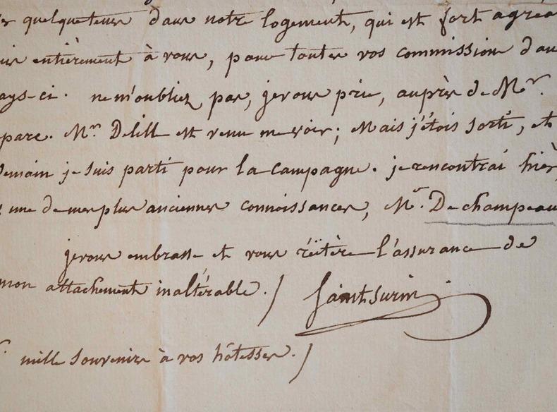 Pierre Tiffon de Saint-Surin s'adresse à l'Abbé de Rochas.. Pierre Saint-Surin (Tiffon de) (1768-1848) Homme de lettres, il a publié de nombreux ...