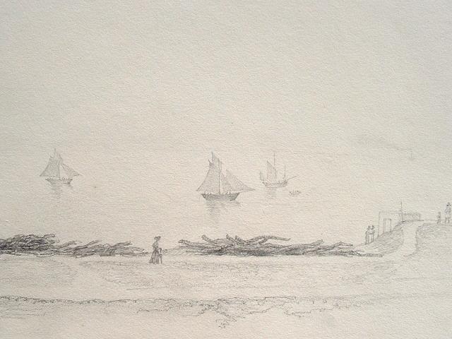 Seine-Maritime. Dessin de bord de mer à Dieppe..