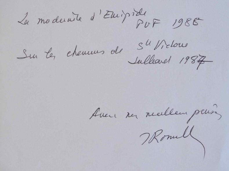 Jacqueline de Romilly dresse la liste de ses dernières publications.. Jacqueline Romilly (Worms de) (1913-2010) Philologue et helléniste, membre de ...