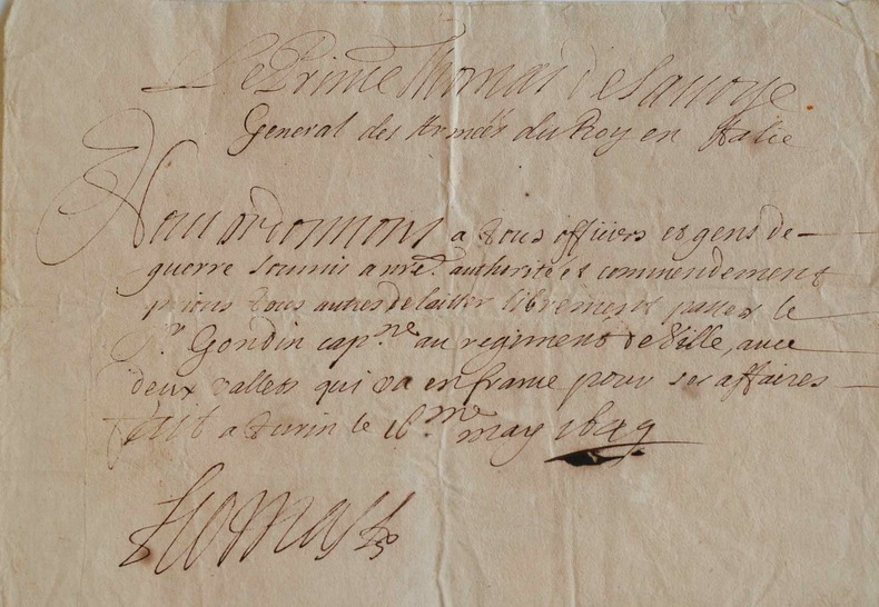 Le prince Thomas de Savoie-Carignan accorde un passeport.. Thomas Savoie-Carignan (de) (1595-1656) Prince de Savoie, généralissime des armées de ...