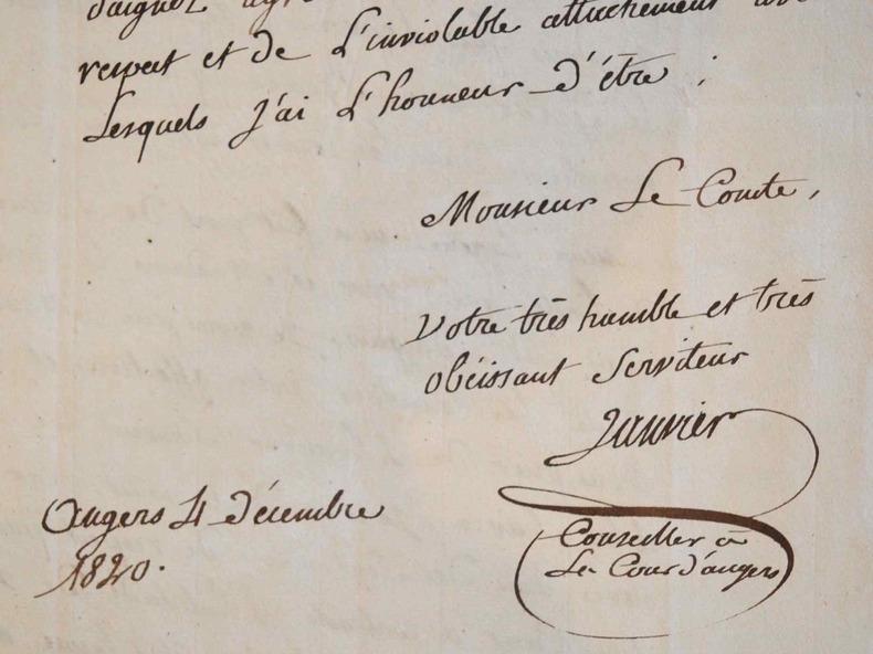 La Mayenne et le Maine-et-Loire à la naissance du duc de Bordeaux.. Elie Janvier (1775-1845) Magistrat, juge et conseiller à la cour d'appel d'Angers, ...