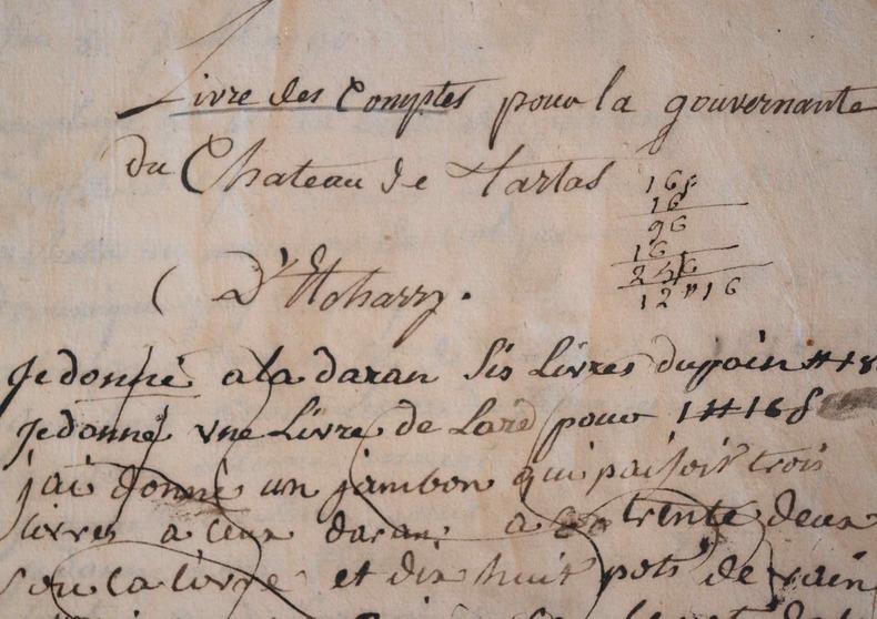 Comptes du château de Tartas (Pyrénées Atlantique) au début de la Révolution..