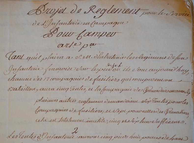Manuscrit d'un projet de règlementation de l'infanterie de campagne..