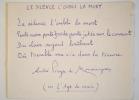 Manuscrit d'un quatrain d'André Pieyre de Mandiargues.. André Pieyre de Mandiargues (1909-1991) Poète et écrivain lié aux Surréalistes, prix Goncourt ...