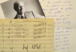 Manuscrit musical, portrait photographique et lettre de Manuel Rosenthal.. Manuel Rosenthal (1904-2003) Compositeur et chef d'orchestre, élève et ami ...