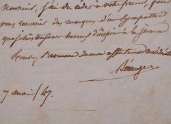 Béranger rend hommage en vers à la ville de son enfance, Péronne.. Pierre Jean Béranger (de) (1780-1857) Chansonnier.
