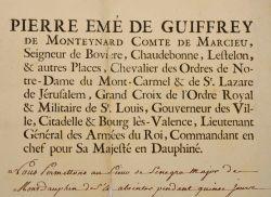 Le gouverneur du Dauphiné, le comte de Marcieu, accorde une vacance du Mont-Dauphin.. Pierre Marcieu (Emé de Guiffrey de Monteynard, comte de) ...