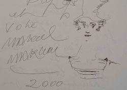 Jolie lettre illustrée d'un autoportrait du Mime Marceau.. Marcel Marceau (1923-2007) Mime, il connut une renommée mondiale avec son personnage Bip.