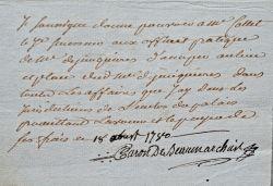 Beaumarchais change d'avocat.. Pierre Augustin Beaumarchais (Caron de) (1732-1799) Ecrivain, auteur du Mariage de Figaro (1784).