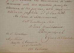 Lettre de l'évêque de Charleston, Patrick Lynch.. Patrick Nelson Lynch (1817-1882) Evêque de Charleston (Caroline du Sud), de 1857 à 1882.
