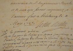 Le duc d'Antin fait remettre les livres de l'Imprimerie Royale au chapitre de Lille.. Louis Antin (de Gondrin de Pardaillan, duc d') (1707-1743) ...
