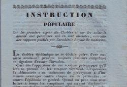 Instructions pour prévenir le choléra, imprimées à Tarascon vers 1830..