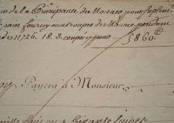 Rémunération du fermier de la Principauté de Monaco pour le pain fourni aux troupes..