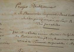 Projet de pharmacies impériales dans tous les départements de l'Empire..