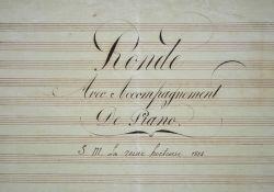 Composition musicale de la reine Hortense pour les enfants de la Maison de Saint-Denis.. Hortense Beauharnais (de) (1783-1837) Fille de Joséphine, ...