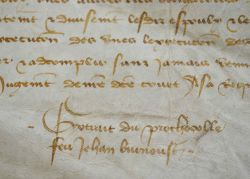 Vente d'une rente à Angers en 1487..