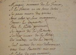 Rare pièce en vers du poète tragique Pierre Charles Roy.. Pierre Charles Roy (1683-1764) Poète dramatique ; ses épigrammes lui attirèrent des ennemis ...