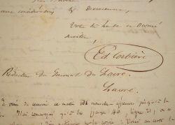 Edouard Corbière réclame les épreuves de son nouveau roman, le Prisonnier de guerre.. Edouard Corbière (1793-1875) Marin, journaliste et écrivain, il ...
