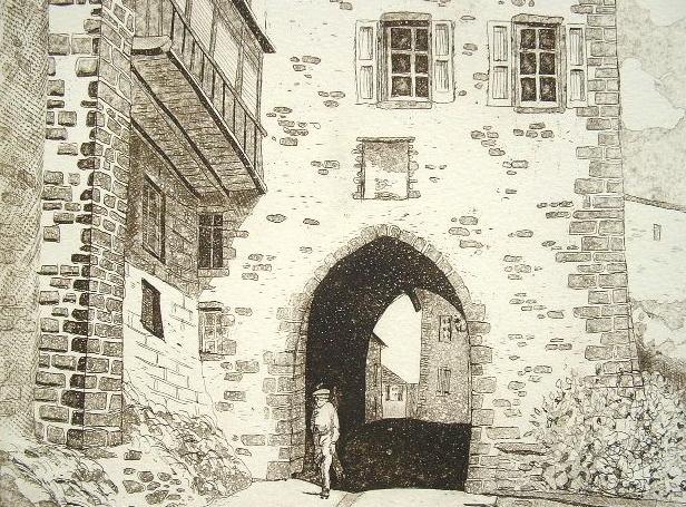 Gravure de la porte du Thuile à Saint-Flour..