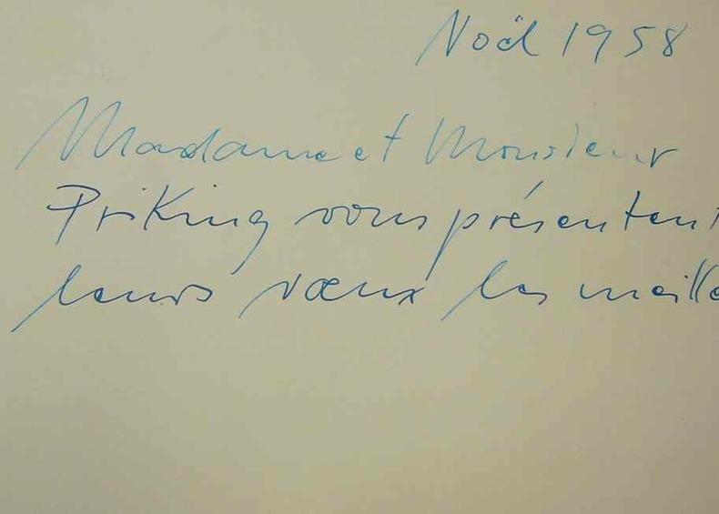 Les voeux de Franz Priking à Edouard Goerg.. Franz Priking (1927-1979) Peintre allemand.