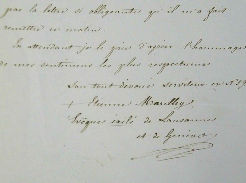 L'évêque de Lausanne et Genève, Mgr Marilley, exilé à Aix.. Etienne Marilley (1804-1889) Evêque de Lausanne et Genève (1846-1879) ; incarcéré à la ...