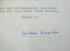 Contrat signé par Arthur Koestler pour l'adaptation théâtrale d'un roman.. Arthur Koestler (1905-1983) Romancier, journaliste et essayiste hongrois, ...