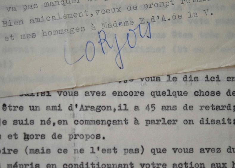 Ironique lettre de Lorjou sur Picasso.. Bernard Lorjou (1908-1986) Peintre.