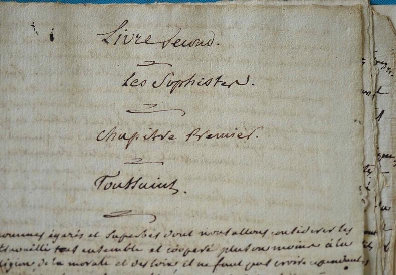 Manuscrit autographe de La Harpe de son étude sur Fr.-V. Toussaint.. Jean François La Harpe (de) (1739-1803) Poète et critique, de l'Académie ...